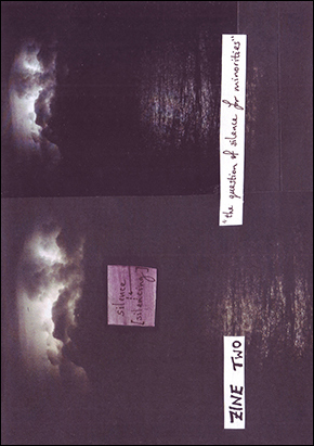 image of the cover of zine 2 - a photo of a stormy sky over water and the handwritten words 'the question of silence for minorities'
