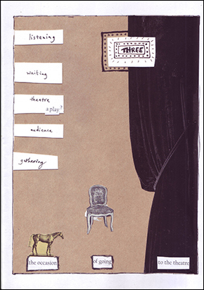 image of the cove for zine 3 in A4 size - a collage of a theatre curtain, a chair, and a small horse. The words 'listening' 'waiting' 'theatre' 'audience' and 'gathering are just about visible in handwriting