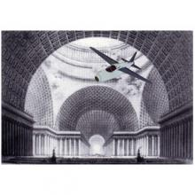 image from Point and Place book of a cut out aeroplane in a picture of a dome